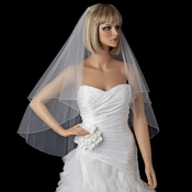 Bridal Wedding Double Layer Ivory on Comb with Crystal Beads and Bugle Beads Veil 2218