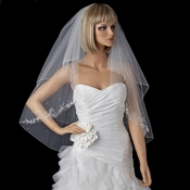 Bridal Wedding Double Layer Fingertip Length with Floral Emboridery, Pearl & Bugle Bead Accents Veil 522**Discontinued**