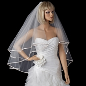 Bridal Wedding Double Layer Fingertip Length, Ribbon Edge Veil 948