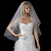 Bridal Wedding Double Layer Fingertip Length Pencil Edge Veil VP F