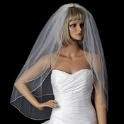 Bridal Wedding Double Layer Swarovski Rhinestone Edge Veil Fingertip Veil V SW F