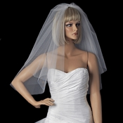 Shoulder length double layer cut edge bridal Veil VC S