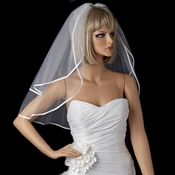"Bridal Wedding Double Layer 3/8"" Satin Ribbon Edge Shoulder Length Veil VS S 1/8"