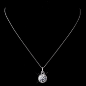Silver Clear CZ Necklace 1304