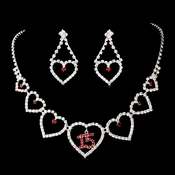 Red Rhinestone Sweet 15 Quincea�era Heart Necklace & Earring Jewelry Set NE 460