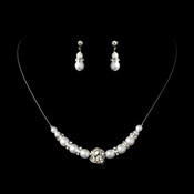 White Child's Necklace Earring Set 7244