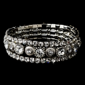 Silver Clear Multi Stretch Rhinestone Bracelet 963