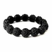 Black Pave Ball Stretch Bracelet 8543