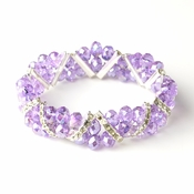 Light Amethyst Silver Clear Double Line Bracelet 7616