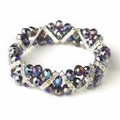 Purple AB Silver Clear Double Line Bracelet 7616