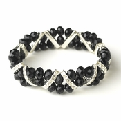 Black Silver Clear Double Line Bracelet 7616