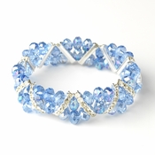Light Blue Silver Clear Double Line Bracelet 7616