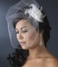 Elegant Feather Flower Fascinator with Cage Veil Clip 7795 Black Only