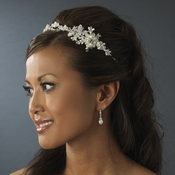 Elegant Pearl & Crystal Headband Side Accent Hair Vine HP 4630