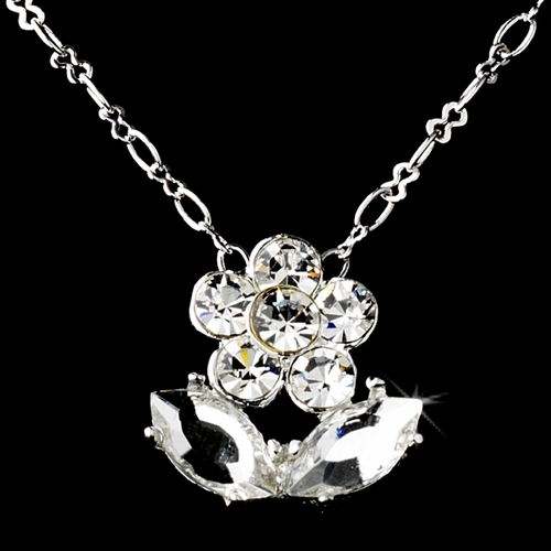 Children's Silver Clear Rhinestone Flower Necklace & Earring Set 410