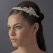 Pearl & Rhinestone Couture Side Accented Flower Bridal Headband - HP 8354