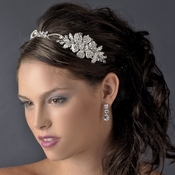 Charming Silver Side Accented Flower Headpiece w/ Clear Rhinestones & Austrian Crystals 9853