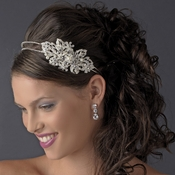 Marvelous Silver Clear Austrian Crystal & Ivory Pearl Side Accented Bridal Headpiece 9846