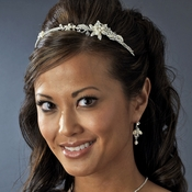 Floral Pearl Rhinestone Side Ornament Accented Headband - HP 13206