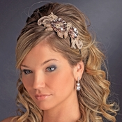 * Pink Champagne Sequin Flower Headband Headpiece 4021