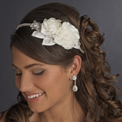 Rhinestone & Flower Accented Side Bridal Headband HP 616