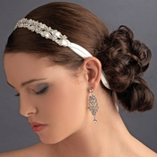 Stunning Crystal Flower Accented Bridal Ribbon Headband HP 6470