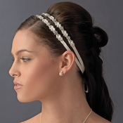 Stunning Simple Crystal Flower Bridal Ribbon Headband HP 6472