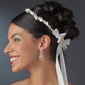 Lovely White or Ivory Flower & Pearl Greek Stefana Wedding Crowns 8016