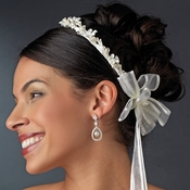 Delightful White or Ivory Flower & Pearl Greek Stefana Wedding Crowns 8017