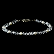 Ivory Pearl Bracelet with Rhinestone Accents 213