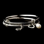 Silver Bangle with Heart & Pearl Charm Designer Inspired Bracelet B 7977