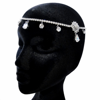 "Antique Silver Clear Rhinestone ""Kim Kardashian"" Inspired Floral Headband Headpiece 1863"