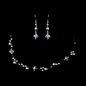 Silver Smoke Grey Cloud AB Necklace Earring Set 7239