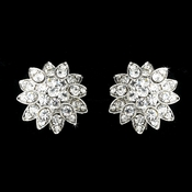 Silver Clear Rhinestone Bridal Clip On Earring E 1055