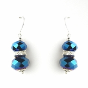 * Royal Blue Silver Clear Earring Set 7618
