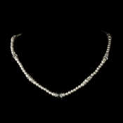 White Silver with Clear Crystal Necklace 8376