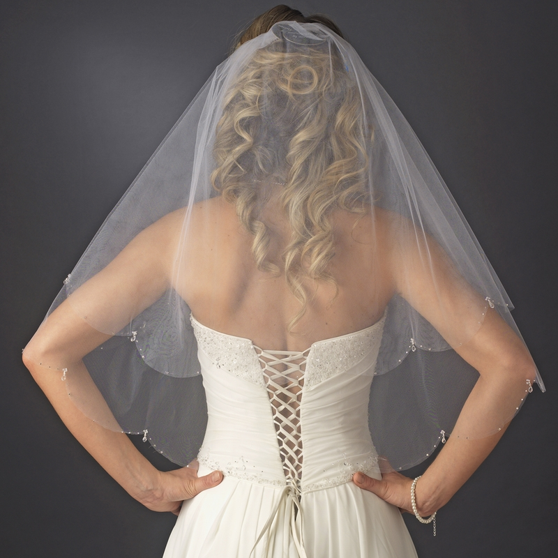 Double Layer Elbow Length Veil With Dangling Crystals And