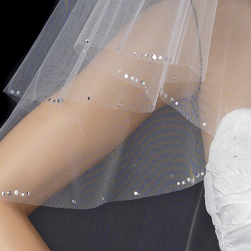 Double Layer Elbow Length Veil wit Sparkling Edge of Rhinestones 117