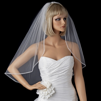 Single Layer Elbow Length Veil with Sparkling Pearl & Crystal Edge 118 White