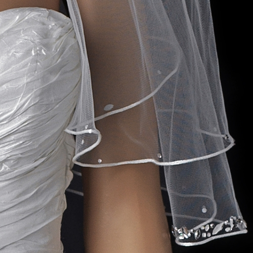 Double Layer Elbow Length Veil with Satin Corded Edge & Geometric Rhinestone Accents V 4527