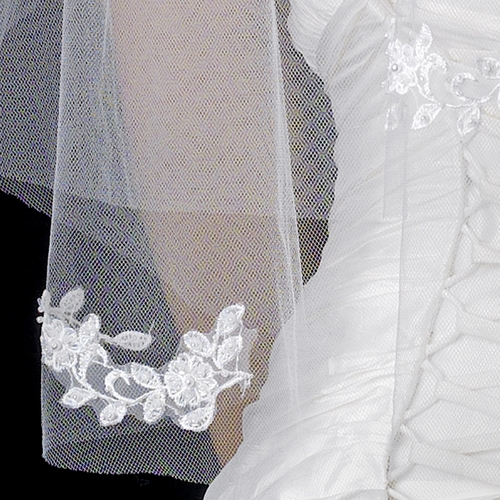 Double Layer Elbow Length Veil with Flower Embroidery Accents & Pearls V 503