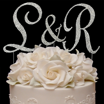 Completely Covered ~ Swarovski Crystal Initials Wedding Cake Top Set
