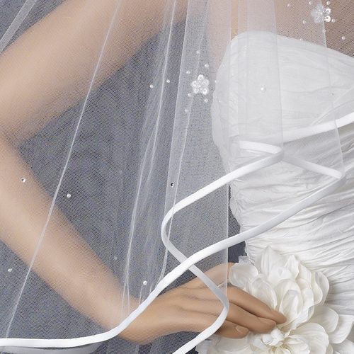 Bridal Wedding Double Layer Fingertip Veil 1721 w/Satin Ribbon Edge w/Scattered Flowers & Pearls