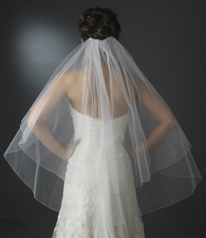 Double Tier Veil In Fingertip Length With Crystal Amp Pearl