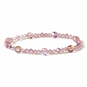 * Light Amethyst Swarovski Crystal Stretch Bracelet B 239