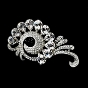 Antique Silver Rhinestone Brooch 114