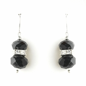 * Black Silver Clear Earring Set 7618