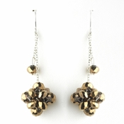 * Silver Golden Brown Cluster Dangle Earring Set 7620