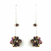 * Plum AB Cluster Dangle Earring Set 7620