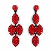 * Four Tone Red Mix on Black Earring Set 8541